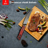 Damascus steak knife set of 6 Japanese AUS-10 Steel - Letcase