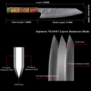 Hand Forged Damascus Kitchen Knives Full Tang 67 Layers VG10 - Letcase