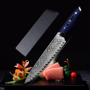 Hand forged damascus steel chef knife with sheath - Letcase