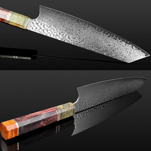 Hand Forged Sharp Damascus Kitchen Knives Octagonal Handle - Letcase