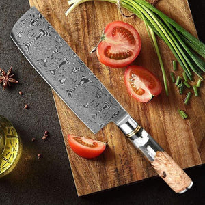 Handmade Damascus Steel Cleaver Knife, Sharp Chef Knife - Letcase