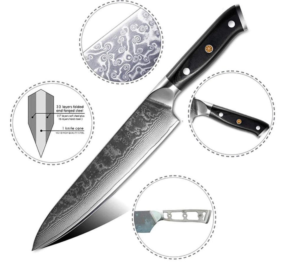 High-carbon Damascus Chef Knife Set - Letcase