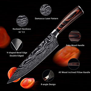 Japanese Chef Knives Set, 7Cr17Mov Professional Knife Set - Letcase