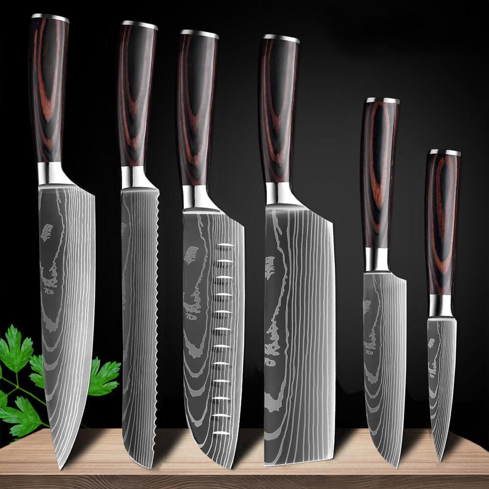 Japanese Knives Set, Stainless Steel Super Sharp Blade - Letcase
