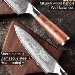Japanese VG10 Damascus Chef Knife, Mkuruti Wood Handle - Letcase