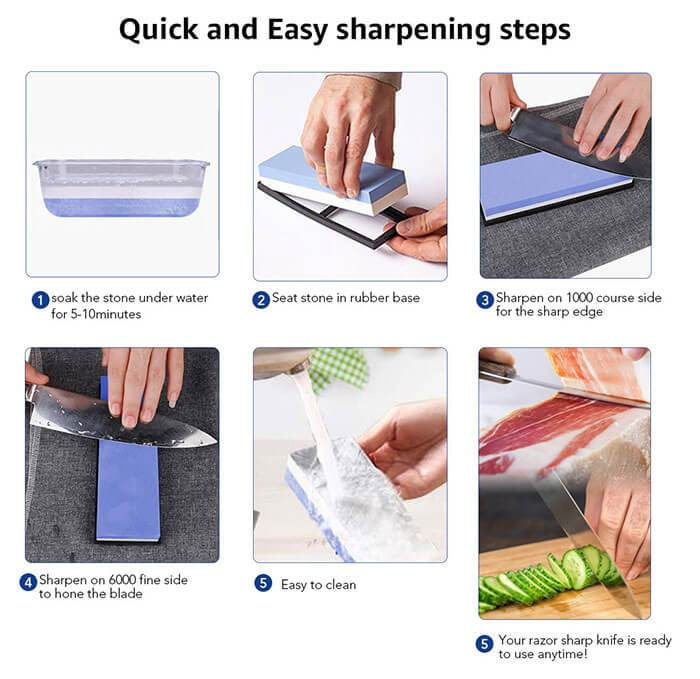 Sharpen Knives with Whetstone