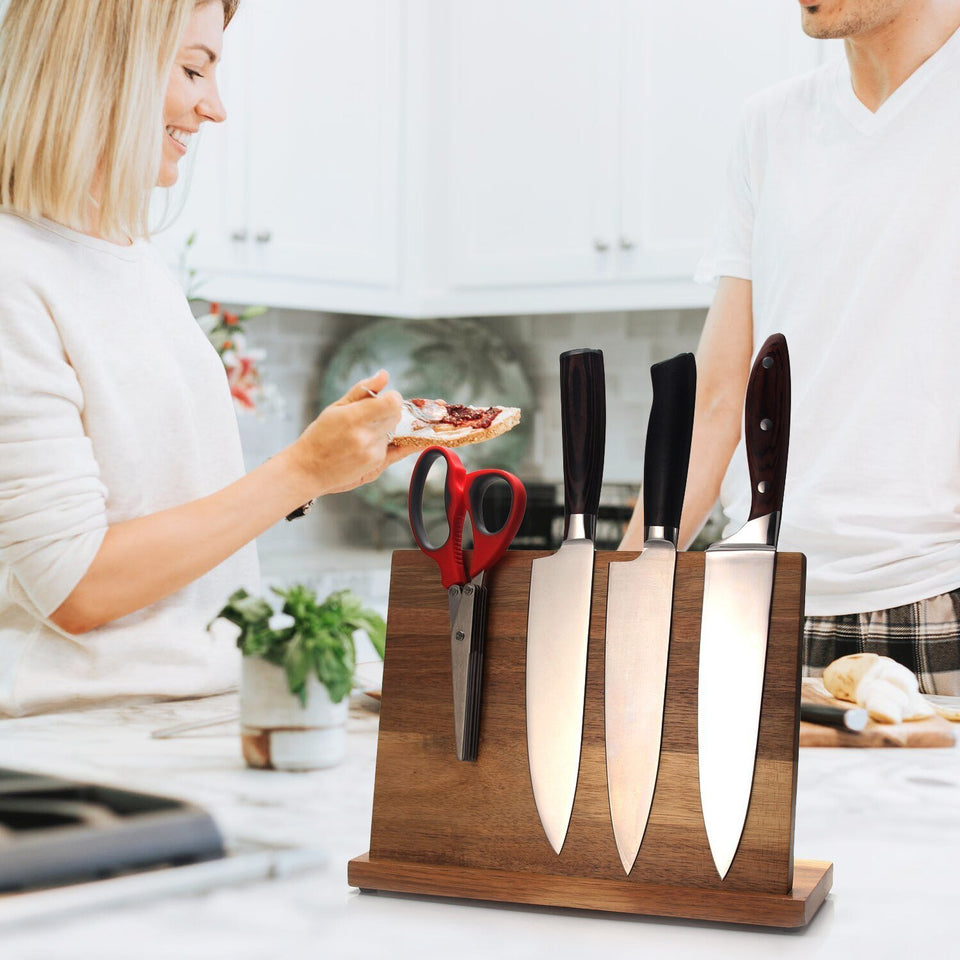Letcase Acacia Wood Magnetic Knife Block Holder(Without Knives) - Letcase