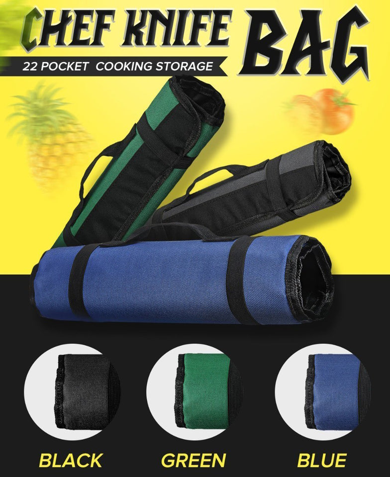 Portable 22 Pocket Chef Knife Roll Bag - 3 Colors Choice - Letcase