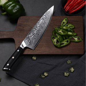 "Professional 8"" Handmade Damascus Steel Kitchen Knives - Letcase"