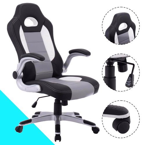 Goplus Leather Computer Gaming Chair Executive Racing Style Bucket Seat Ergonomic Swivel Armchair