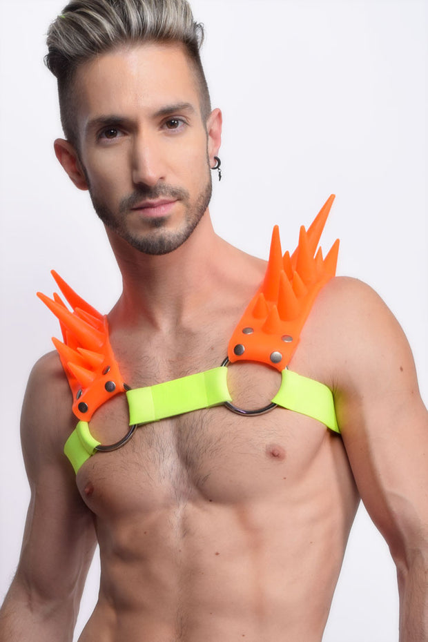 Blades | Spiked Harness | Neon Orange
