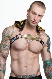 WhoreNess I Sequin Hood Harness I BLACK GOLD