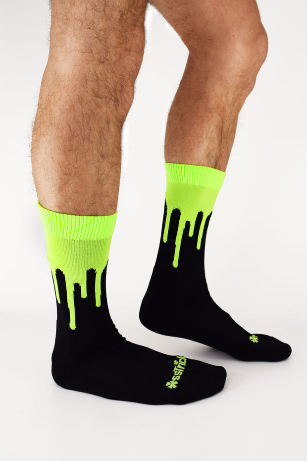 Drip Socks I NEON YELLOW UV
