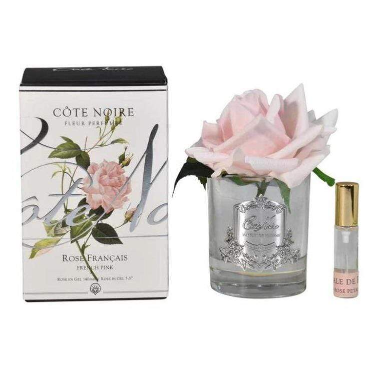 Cote Noire Single French Pink Rose- Clear Glass with Silver Badge GMR06