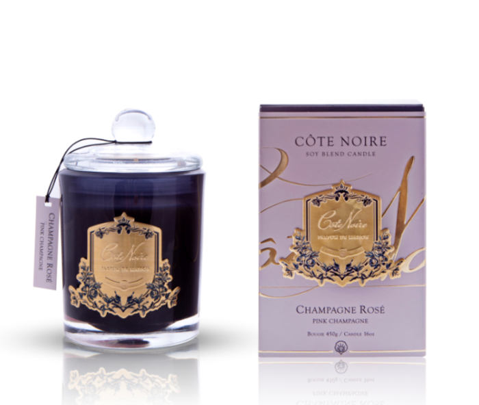 Cote Noire 450g Soy Blended Candle Pink Champagne Gold Badge GML45018