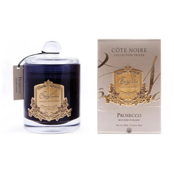 Cote Noire 450g Soy Candle Proseco - Gold Badge Black GML45032