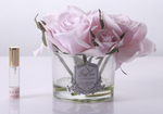 COTE NOIRE PERFUMED NATURAL TOUCH 5 ROSES - CLEAR VASE - FRENCH PINK - GMR66