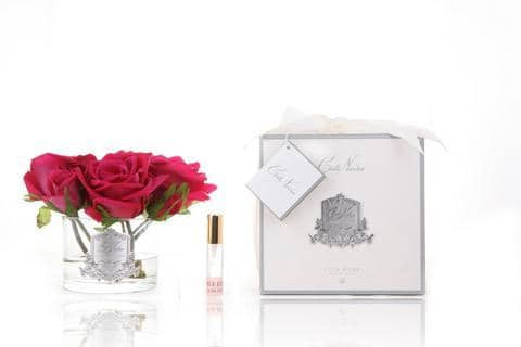 Côte Noire Perfumed Natural Touch 5 Roses in Carmine Red NEW Clear Glass