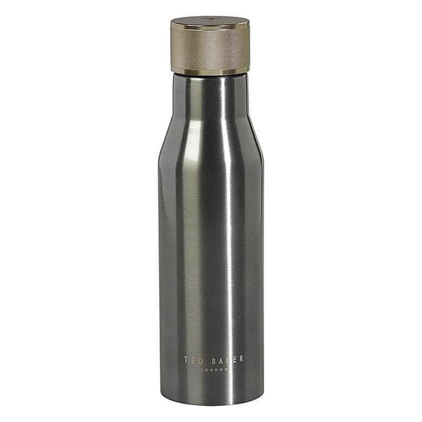 Coated stainless steel water bottle in gunmetal with Ted Baker laser-etched logo. The double-insulated bottle features a knurled leak-proof lid and is suitable for both cold and hot drinks. Size: 236 x 67 x 67mm Capacity: 500ml www.luvbox.com.au