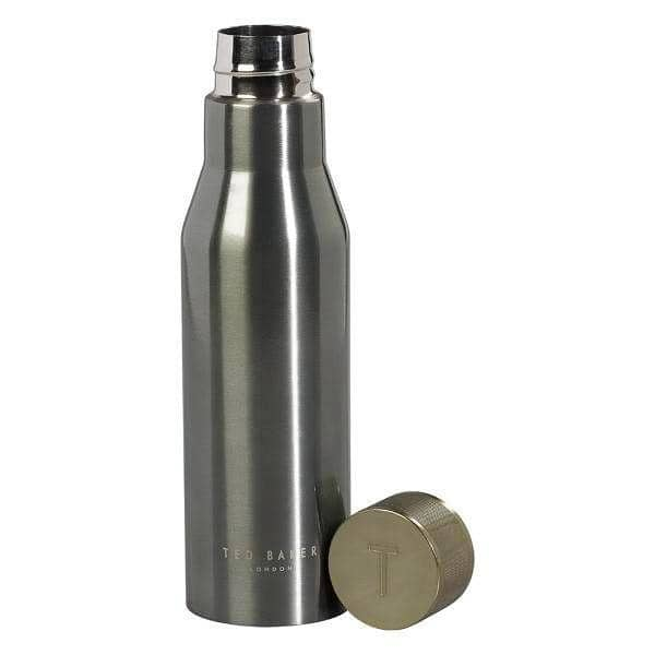 Coated stainless steel water bottle in gunmetal with Ted Baker laser-etched logo. The double-insulated bottle features a knurled leak-proof lid and is suitable for both cold and hot drinks. Size: 236 x 67 x 67mm Capacity: 500ml