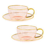 Rose Glass Teacup & Saucer Set of 2