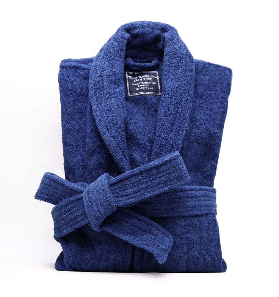 Navy Egyptian Cotton Bath Robe - 400GSM