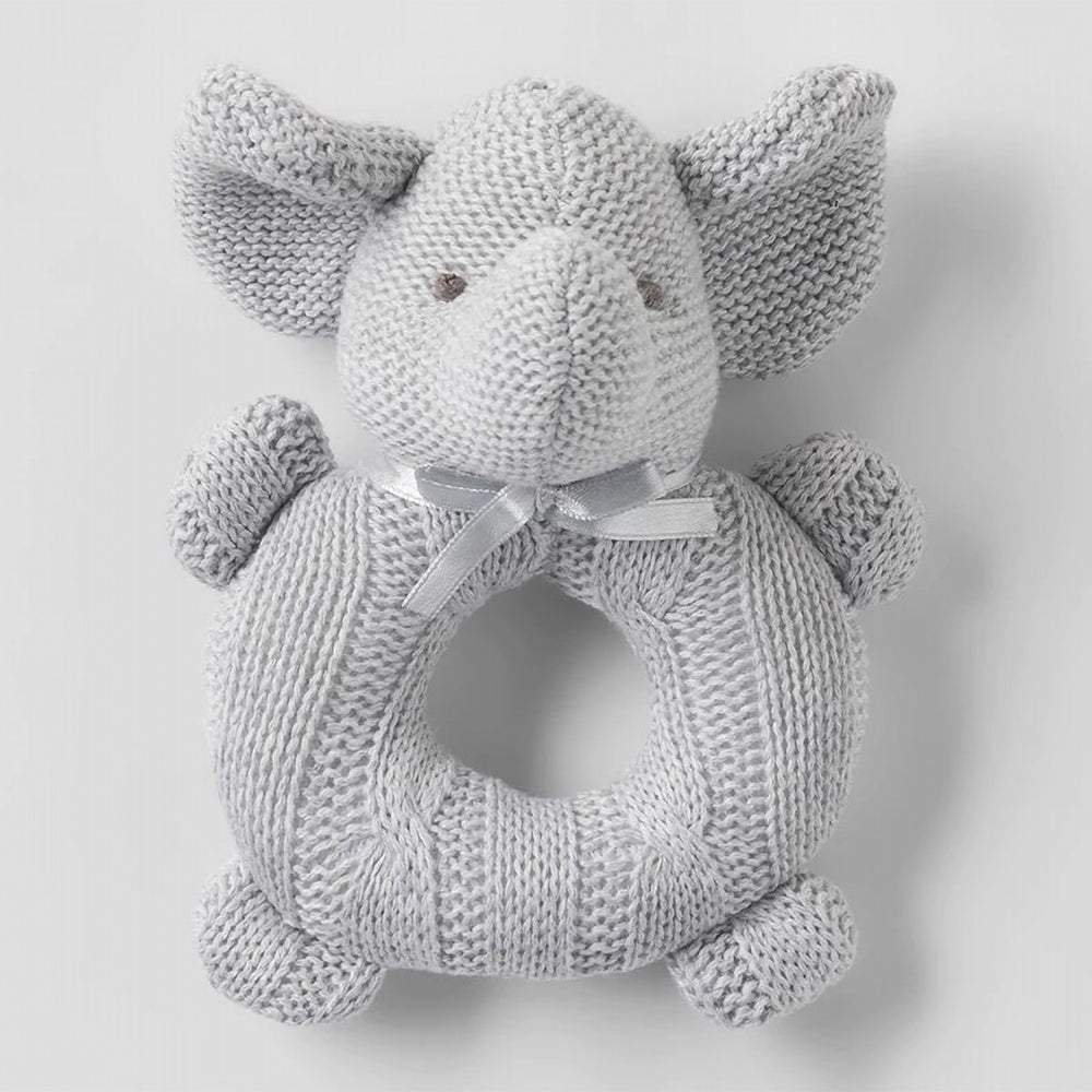 Effie Elephant Rattle Toy Wooden - Grey