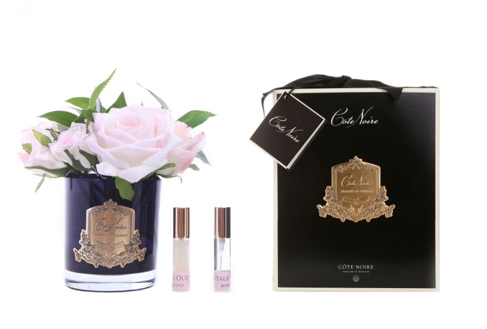 Côte Noire Perfumed French Rose Bouquet in Black Glass