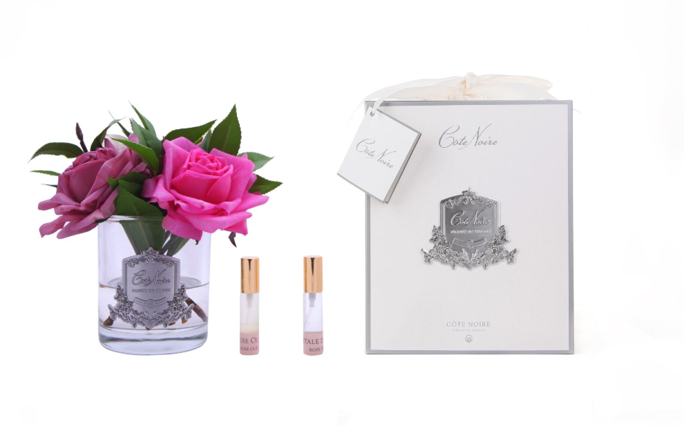 Côte Noire Perfumed Rose Bouquet in Clear Glass - LUVBOX