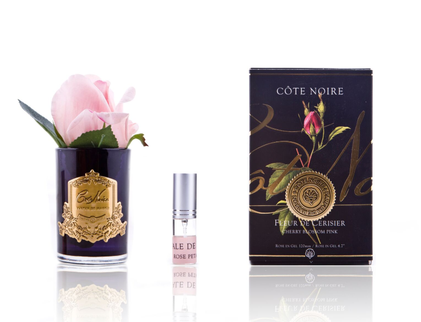 Côte Noire Perfumed Natural Touch Rose Bud in Black - French Pink - Gold Badge - GMRB46