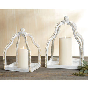 White Beaded Lantern - The Rustic Barn CT