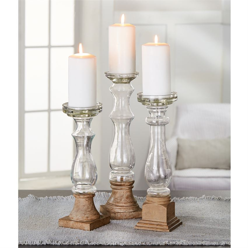 Glass and Wood Candlestick Holder - The Rustic Barn CT