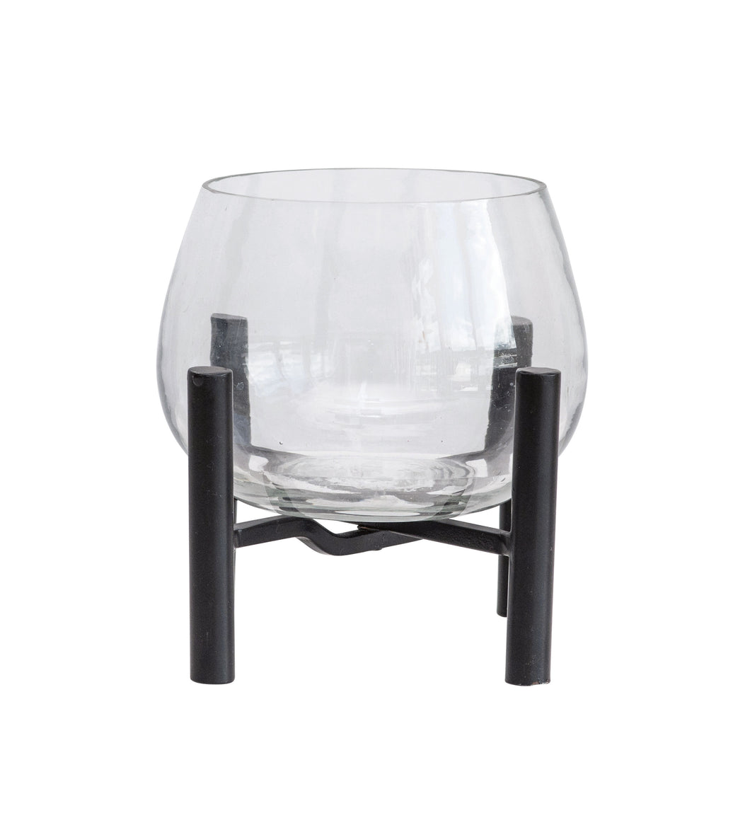 Small Clear Glass Planter on Black Metal Stand (Set of 2 Pieces) - The Rustic Barn CT