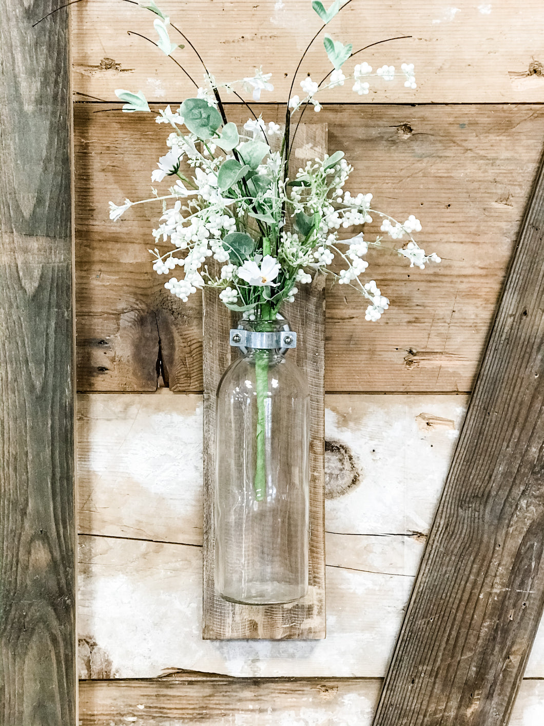Wood Wall Decor With Glass Vase - The Rustic Barn CT
