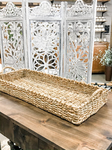 Decorative Hand-Woven Seagrass Tray - The Rustic Barn CT