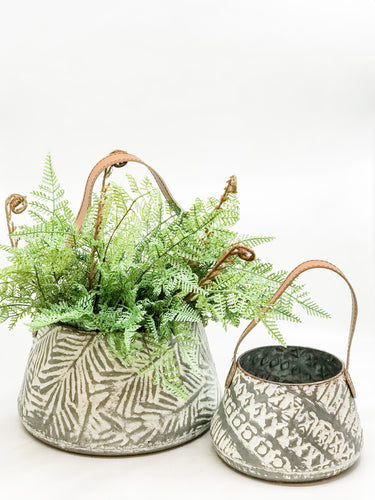 White Washed Metal Baskets - The Rustic Barn CT