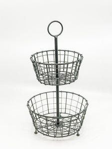 Tiered Metal Basket - Rustic Barn CT