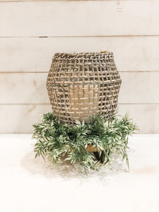 Woven Rattan Lantern with a Grey White Washed Finish