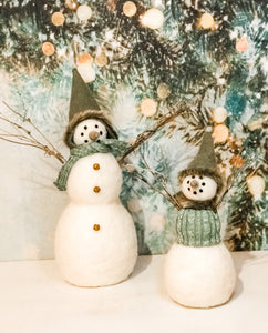 Wool/Felt Snowmen 2 Sizes