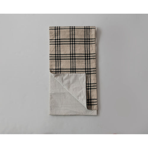 Woven Cotton & Wool Plaid Table Runner