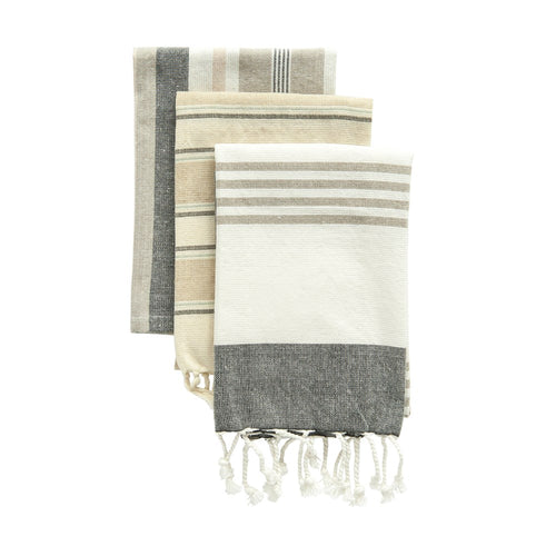 Cotton Striped Tea Towels. Set of 3