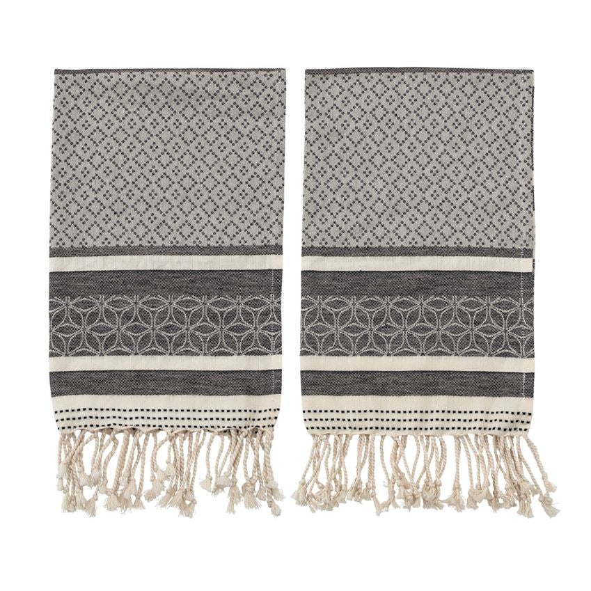 Woven Cotton Tea Towels, Black & Cream