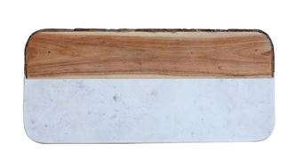 White Marble & Mango Wood Cheese Board w/ Bark Edge