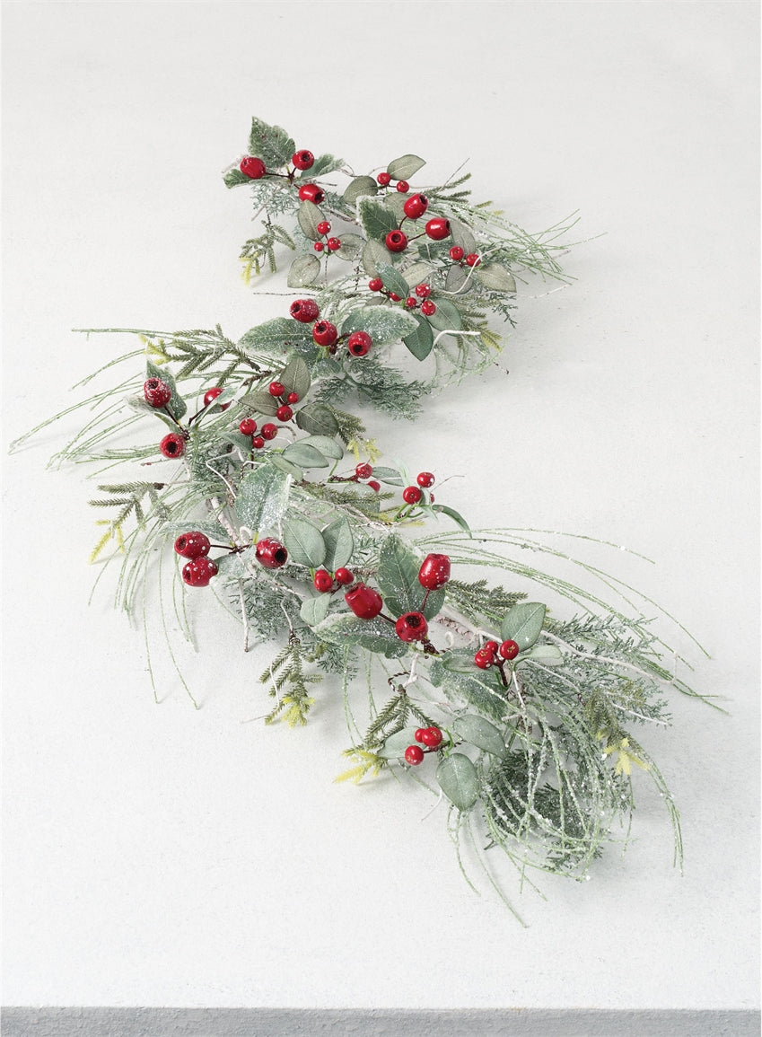 Iced Pine & Red Berry Garland