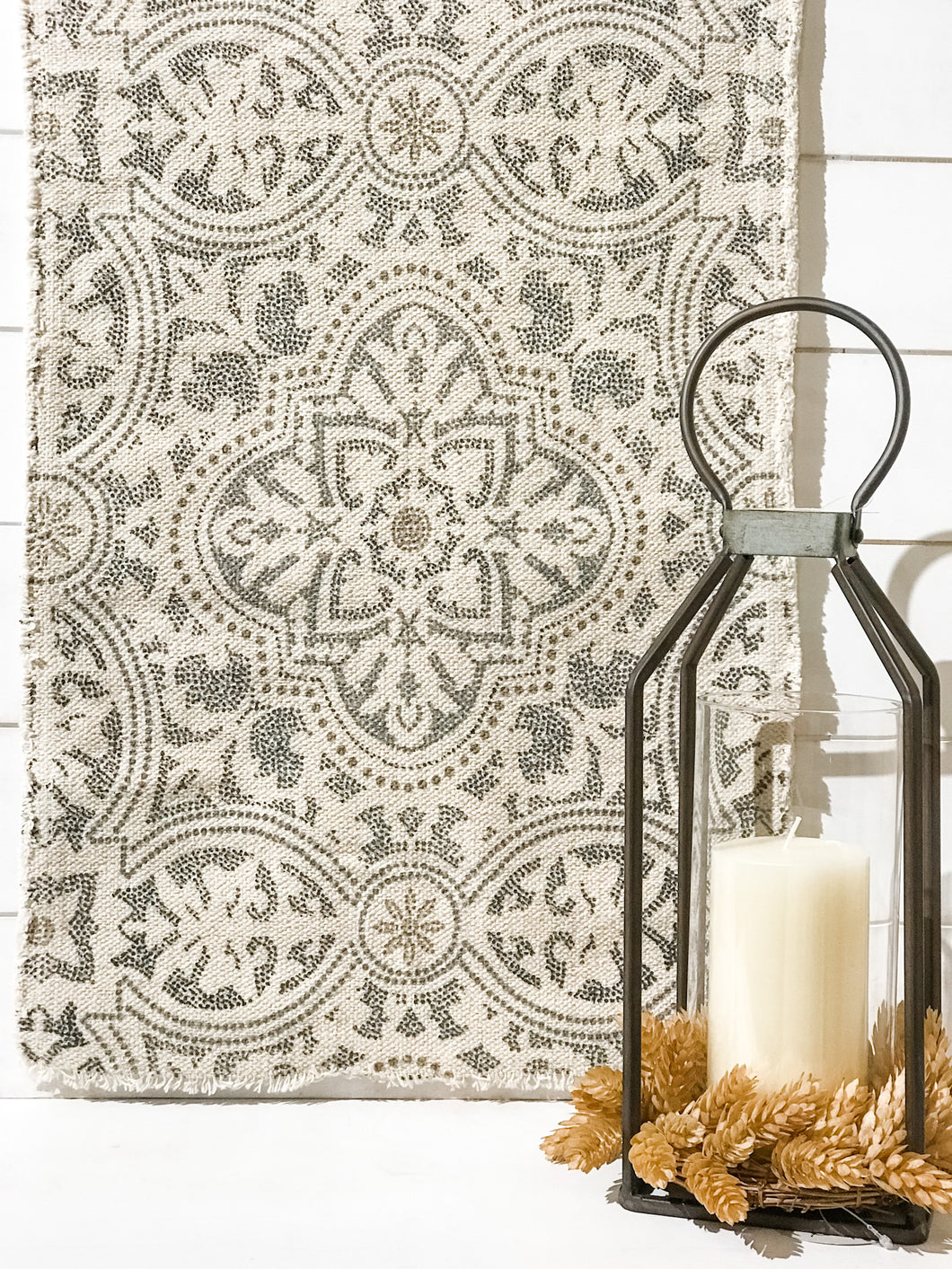 Cotton Printed Table Runner With Fringe
