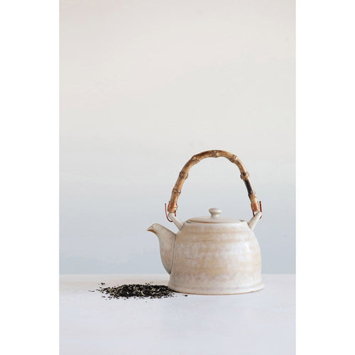 Stoneware Teapot With Bamboo Handle & Strainer - The Rustic Barn CT