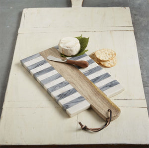 Striped Marble & Wood Cheese Board Set