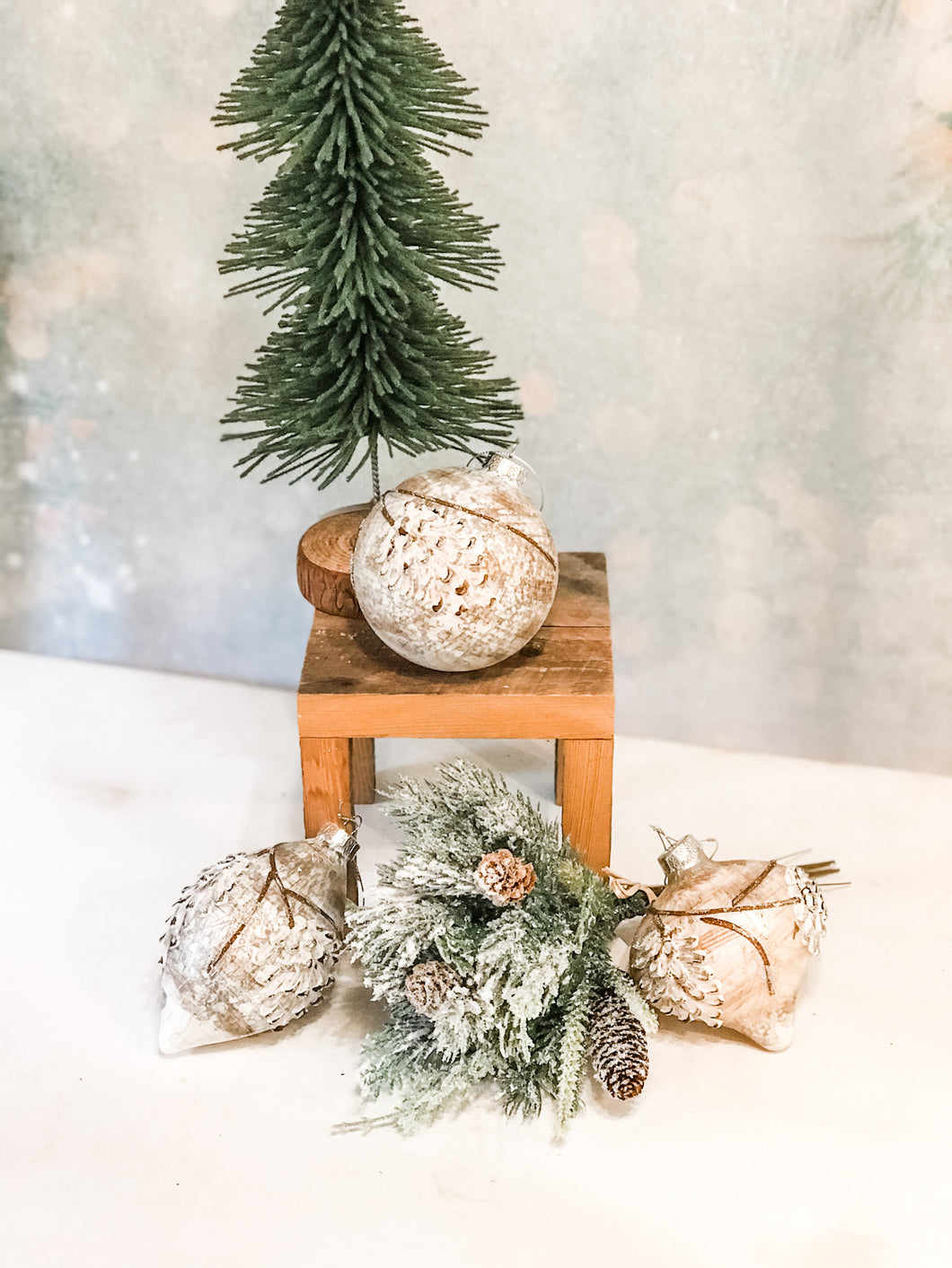 Textured Pinecone Glass Ornament, 3 Styles