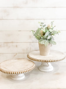 White Distressed Cake Stand - Rustic Barn CT