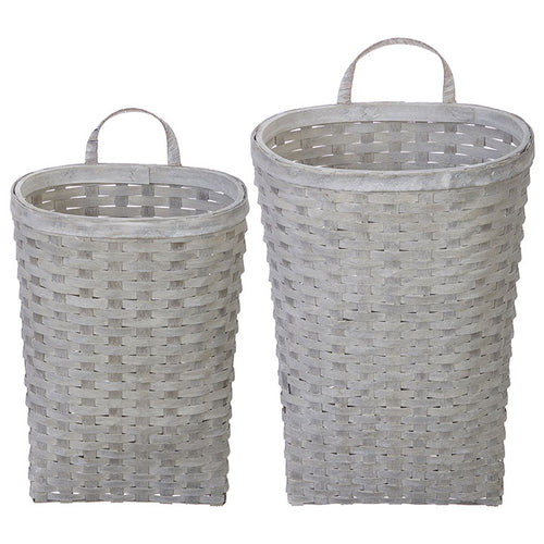 White Washed Wall Baskets Set of 2 - The Rustic Barn CT